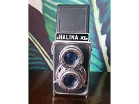 Vintage 1960s Halina A1 Twin Lens Reflex Camera Instructions Box & Leather Case