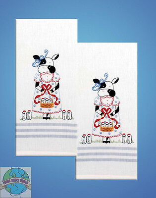 Cow 2 Embroidery (Embroidery Kit ~ Design Works Cow & Milk Kitchen Towel Pair (2 Towels) #T212928 )