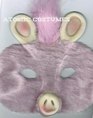 Kids Pig Half Mask Furry Hairy Pink Fur Face Halloween Costume Boys Girls NEW (Hairy Boys)