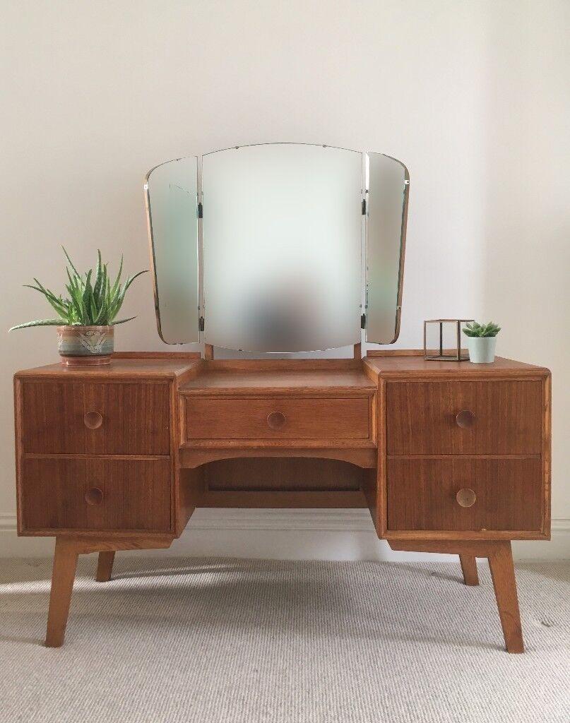 Vintage Mid Century Oak Meredew Dressing Table Desk Danish Style 1960 S