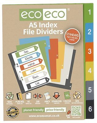 1 Set x 6pk eco-eco A5 50% Recycled Index File Folder Plastic Dividers