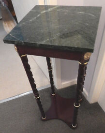 Dark Mahogany & Grey Marbled Hall or Corner Table In Excellent Condition