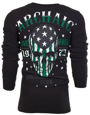 Flag Thermal Shirt - Archaic AFFLICTION Mens THERMAL Shirt SMASHER Skull USA FLAG Biker UFC Jeans $58