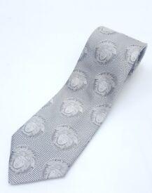 Genuine Versace silver jacquard Medusa 100% silk tie (not Armani, Gucci, Prada, Boss, Reiss)