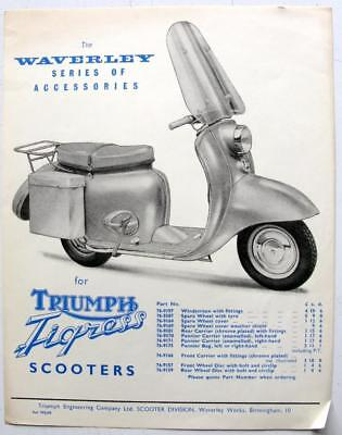 TRIUMPH Tigress Scooter Accessories for 1961 Original Accessories Sales Sheet