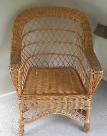 Wicker chair, vintage 80s, ideal for bedroom or conservatory , slight damage to arm