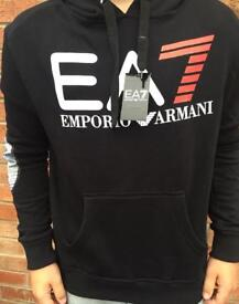 Brand New Men's Black EA7 Armani Hoodie Size Small
