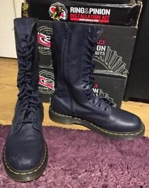 Dc martens long boots dark navy blue