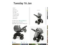 Meego milano 3 in 1 pram with carseat , pushchair
