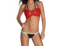 Crochet Top Neoprene Bottom Bikini Swimwear Beachwear size 4 / 6 NEW