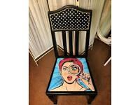 Art Nouveau And PopArt Chair. Vintage. Retro. Black&Blue.