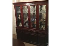 Mahogany Four Glass Door Wall Display Cabinet