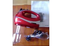 brand new hand mixer,vonShef red . 4 differant hooks