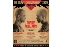 2 x Robbie Williams standing tickets Manchester Etihad Arena Saturday 3rd June