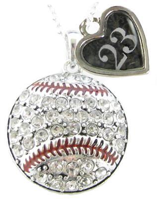 Sports Number Necklace (Custom Baseball Crystal Silver Necklace Jewelry Jersey Numbers 00-49)