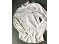 All Saints Men White ARMATA Ramskull Cotton Shirt, Medium RRP £85