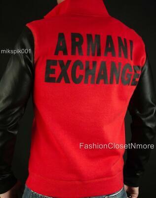 Quarter Mens Sweatshirt (ARMANI EXCHANGE AX Mens Logo Quarter Zip Faux Leather Sleeves Sweatshirt NWT $99 )