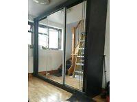 💥💯MASSIVE SAVINGS 2 DOORS SLIDING WARDROBE WITH FULL MIRRORS ALL SHELVES & RAILS INCLUDED