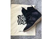 Isabel Marant Bekett Suede Wedge Sneaker, Dark Blue, UK 6