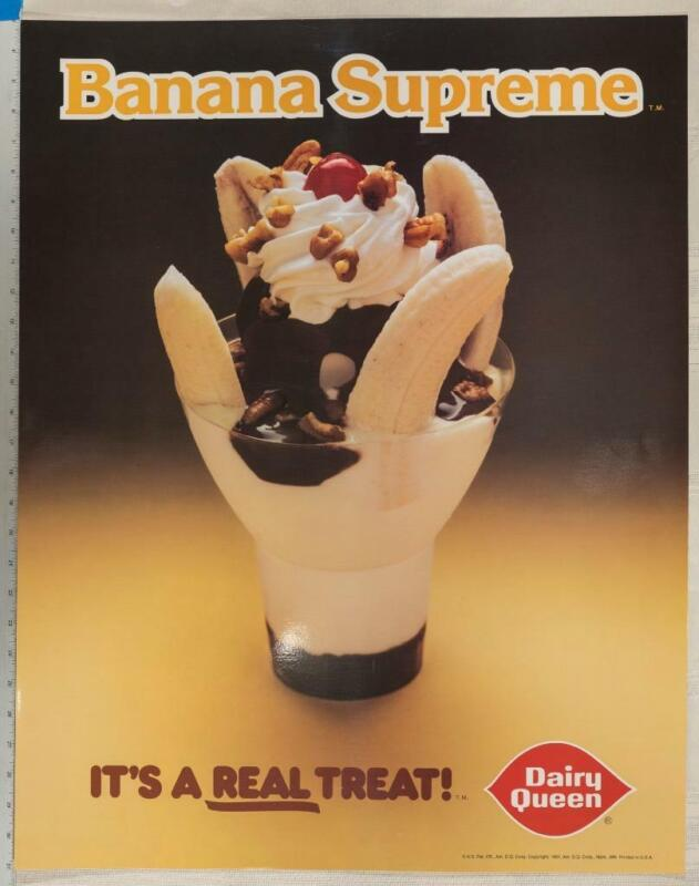 Vintage Dairy Queen Poster Banana Supreme 1982 22x28 dq2
