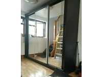 💥💯EXPRESS SALE 2 DOORS SLIDING WARDROBE WITH FULL MIRRORS ALL SHELVES & RAILS INCLUDED