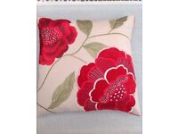John Lewis embroidered red cushion