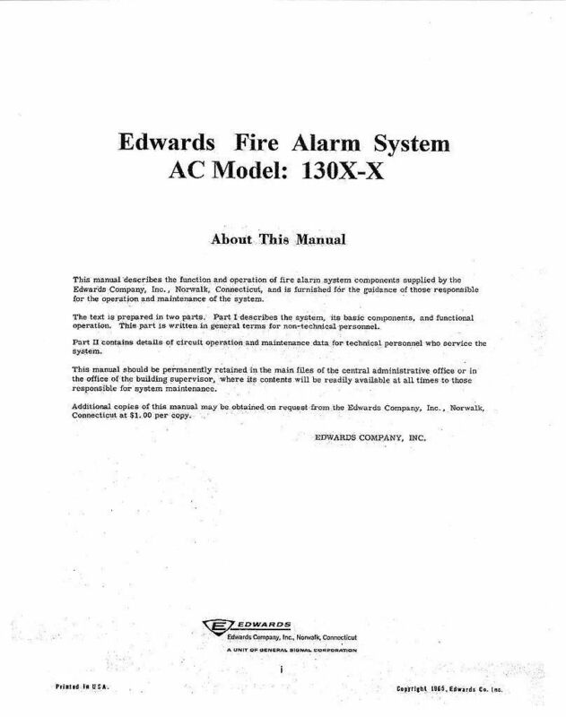 Edwards Fire Alarm Manual for series 1300 AC Systems - Vintage - VERY rare find