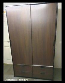Walnut effect sliding doors wardrobe