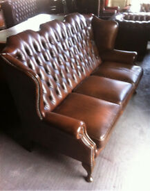 Brown leather 3 seater highback Chesterfield sofa