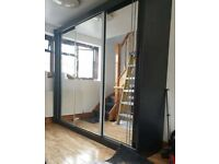 💥💯HUGE SALE 2 DOORS SLIDING WARDROBE WITH FULL MIRRORS ALL SHELVES & RAILS INCLUDED
