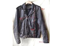 100% Hand-studded Punk Rock Leather Jacket with 1000 Studs - Customizable! + Extra Studs