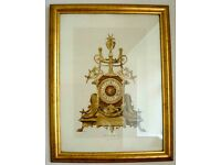***Pair of Golden Emboss Framed Pictures - Clocks - Pendules ***