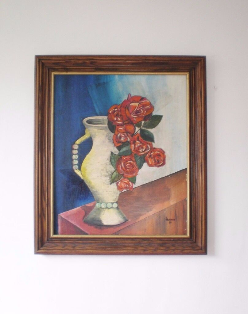 Old oil painting in a wood frame from 1966, framed and signed
