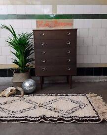MINA - Real Beni Ourain 100% Wool Woollen Handira Berber Runner Rug Handwoven Moroccan