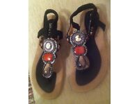 Rome style beaded jewellery sandals with soft out-sole shoes. Size 5.5 UK, 38.5 Europe.