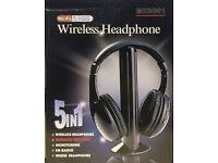 WIRELESS HEADPHONE 5 IN 1 TV MP3 PC FM RADIO