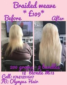"""Hair extensions - £109 200grams 18"""" remy hair & braided sew in weave"""