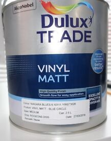 New, unopened 2.5l Dulux Trade Vinyl Matt Niagara Blues 6 paint from Ridgeons Diss