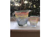 Glass jug and 4 glasses