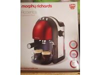 Morphy Richards accents espresso machine red brand new