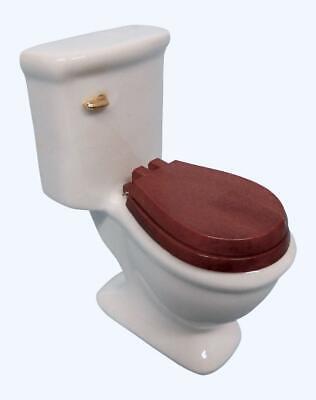 White Ceramic Dollhouse Toilet with Wooden Toilet Seat 1:12
