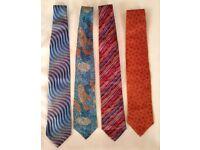 4 Designer Silk Ties - New - Never Worn