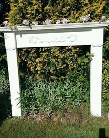 Gorgeous Fire Surround Hand Painted in Annie Sloan Chalk Paint Old White Beautiful Carved Design