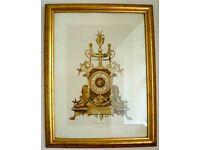 ***Pair of Golden Emboss Framed Pictures - Clocks - Pendules ***