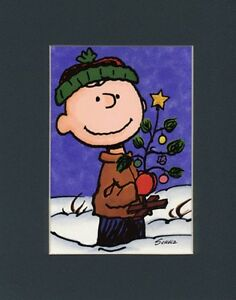 Charlie brown mat print one little xmas tree new star amp ornament
