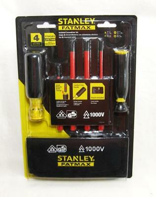 Stanley Fatmax Insulated Screwdriver Set 4 Piece Wstorage Pouch 1000v Vde Rated