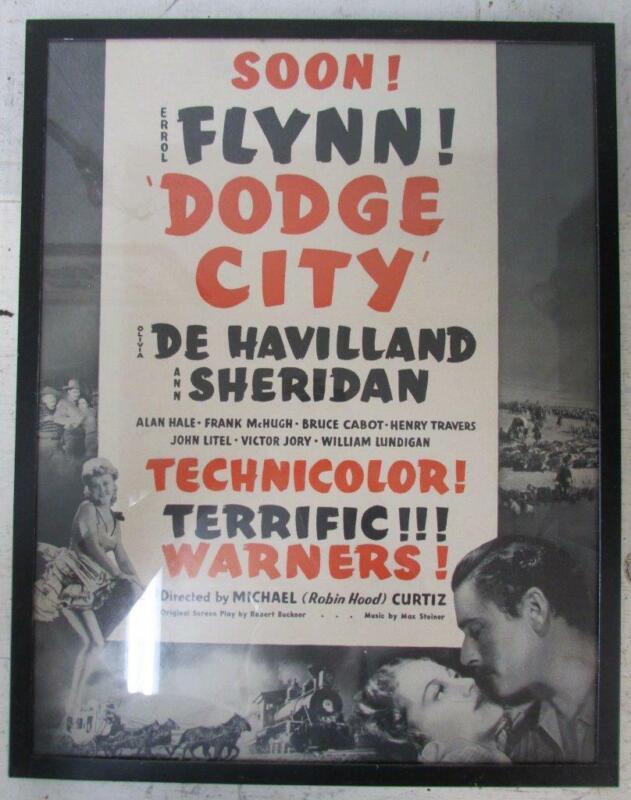 1939 DODGE CITY FRAMED NEWSPAPER AD Errol Flynn Olivia De Havilland ~WW
