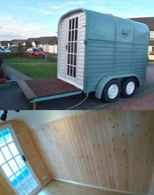 Converted Horse Box/Trailer: Glamping, Pop-up Business/studio, Portable Shepherds Hut.