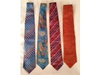 4 Designer Silk Ties - Brand New