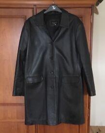 Black 3/4 length leather jacket (Reduced)